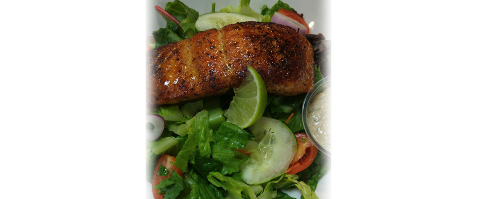 Fresh Romaine with Pan Seared Salmon